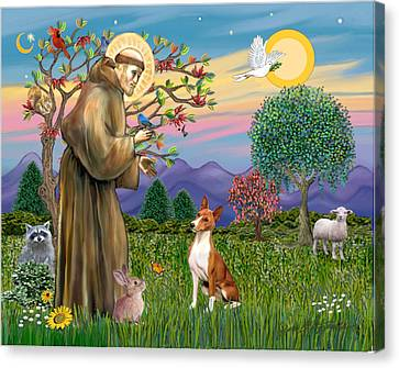 Canvas Print featuring the digital art Saint Francis Blesses A Basenji by Jean Fitzgerald