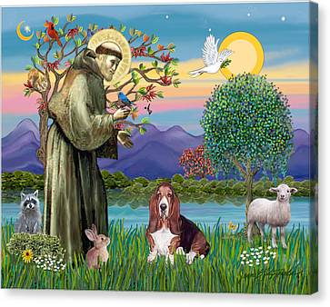 Canvas Print featuring the photograph Saint Francis Blesses A Basset Hound by Jean Fitzgerald