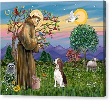 Saint Francis Blesses A Beagle Canvas Print by Jean B Fitzgerald