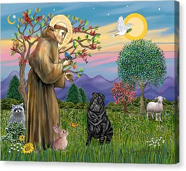 Saint Francis Blesses A Black Chinese Shar Pei Canvas Print