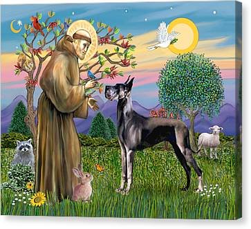 Saint Francis Blesses A Black Great Dane Canvas Print by Jean Fitzgerald