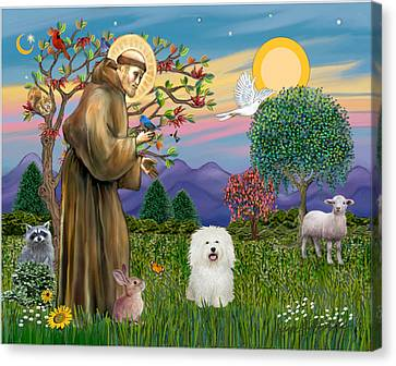 Canvas Print featuring the digital art Saint Francis Blesses A Bolognese by Jean B Fitzgerald