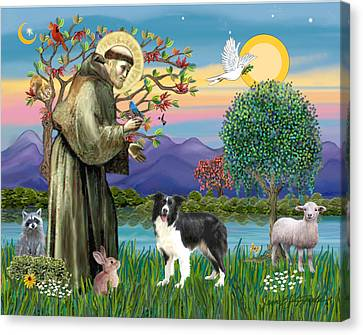 Saint Francis Blesses A Border Collie Canvas Print by Jean Fitzgerald