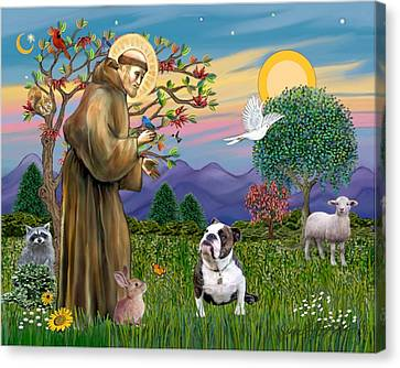 Saint Francis Blesses A Brown And White English Bulldog Canvas Print by Jean B Fitzgerald