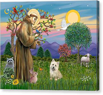 Canvas Print featuring the digital art Saint Francis Blesses A Cairn Terrier by Jean B Fitzgerald