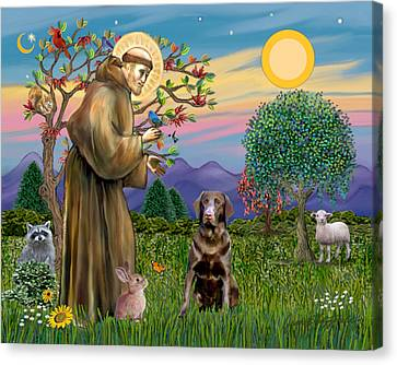 Saint Francis Blesses A Chocolate Labrador Retriever Canvas Print by Jean Fitzgerald