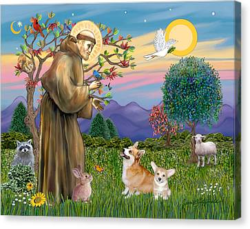 Saint Francis Blesses A Corgi And Her Pup Canvas Print by Jean Fitzgerald