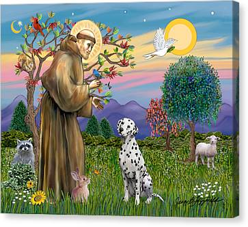 Canvas Print featuring the digital art Saint Francis Blesses A Dalmatian by Jean Fitzgerald