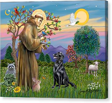 Saint Francis Blesses A Flat Coated Retriever Canvas Print by Jean B Fitzgerald