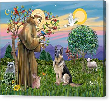 Saint Francis Blesses A German Shepherd Canvas Print by Jean Fitzgerald