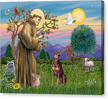 Saint Francis Blesses A Red Doberman Canvas Print by Jean Fitzgerald