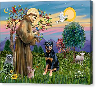 Canvas Print featuring the digital art Saint Francis Blesses A Rottweiler by Jean Fitzgerald