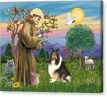 Saint Francis Blesses A Sable And White Collie Canvas Print by Jean Fitzgerald