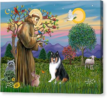 Saint Francis Blesses A Tri Color Collie Canvas Print by Jean B Fitzgerald