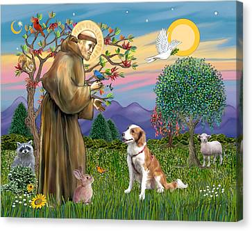 Saint Francis Blesses A Welsh Springer Spaniel Canvas Print by Jean Fitzgerald
