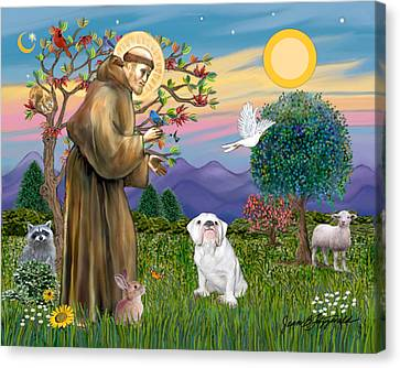 Saint Francis Blesses An English Bulldog Canvas Print by Jean Fitzgerald