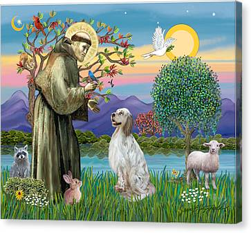 Saint Francis Blesses An English Setter Canvas Print by Jean B Fitzgerald