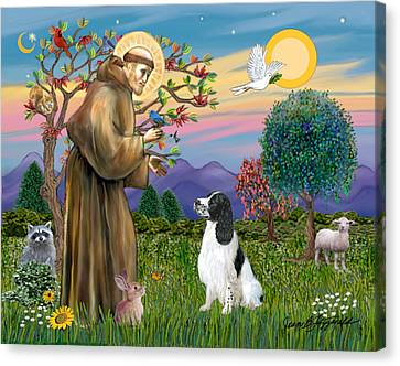Saint Francis Blesses An English Springer Spaniel Canvas Print by Jean Fitzgerald