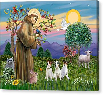 Saint Francis Blesses Three Jack Russell Terriers Canvas Print by Jean Fitzgerald
