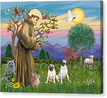 Saint Francis Blesses Two Fawn Pugs Canvas Print by Jean Fitzgerald