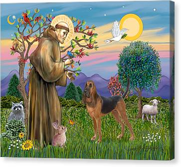 Saint Francis Blessing A Bloodhound Canvas Print by Jean Fitzgerald
