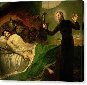 Saint Francis Borgia Helping A Dying Impenitent Canvas Print