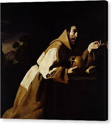 Saint Francis In Meditation Canvas Print by Francisco de Zurbaran