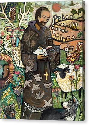 Saint Canvas Print - Saint Francis by Jen Norton
