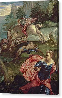 Saint George And The Dragon  Canvas Print by Jacopo Robusti Tintoretto