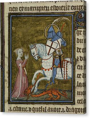 Saint George Riding Over The Dragon Canvas Print by British Library