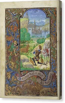 Saint Hubert Lieven Van Lathem, Flemish, About 1430 - 1493 Canvas Print by Litz Collection