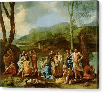 Saint John Baptizing In The River Jordan Nicolas Poussin Canvas Print by Litz Collection