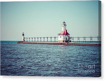 Saint Joseph Michigan Lighthouse Retro Picture  Canvas Print