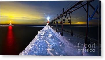 Snowy Night Night Canvas Print - Saint Joseph Pier And Light by Twenty Two North Photography