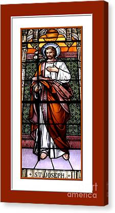 Saint Joseph  Stained Glass Window Canvas Print