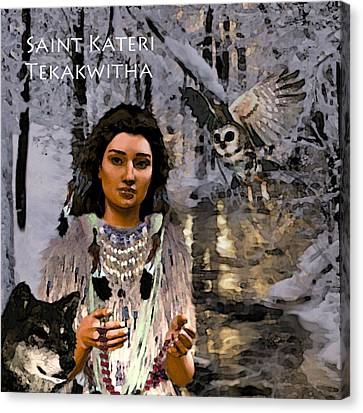 Canvas Print featuring the painting Saint Kateri by Suzanne Silvir