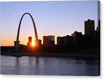 Saint Louis Arch Sunset Canvas Print by David Yunker