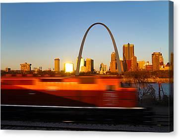Saint Louis Morning Train Canvas Print by David Yunker