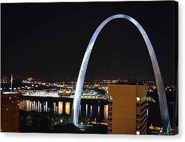 Canvas Print featuring the photograph Saint Louis Skyline And Jefferson Expansion Arch by Jeff at JSJ Photography