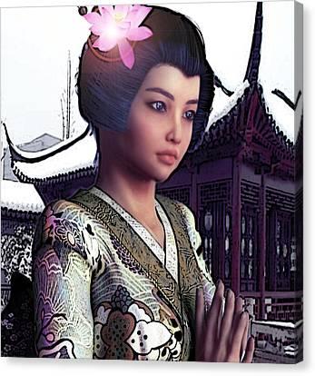 Saint Lucy Yi Zhenmei   Lotus Of China Canvas Print
