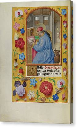 Saint Luke Workshop Of Master Of The First Prayer Book Canvas Print by Litz Collection