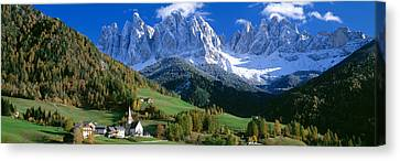 Snow-covered Landscape Canvas Print - Saint Magdalena Church, Italy by Panoramic Images
