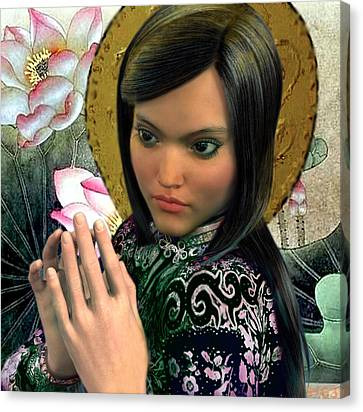 Canvas Print featuring the painting Saint Magdalene Of Nagasaki by Suzanne Silvir