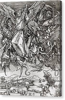 Saint Michael And The Dragon Canvas Print by Albrecht Durer or Duerer