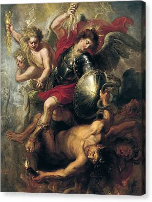 Saint Michael Expelling Lucifer And The Rebellious Angels Canvas Print by Workshop of Rubens