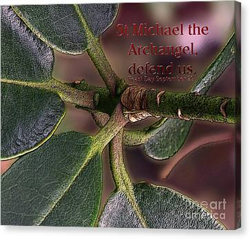 Canvas Print featuring the photograph Saint Michael The Archangel by Jean OKeeffe Macro Abundance Art