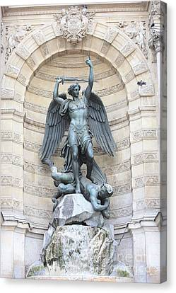 Saint Michael The Archangel In Paris Canvas Print by Carol Groenen