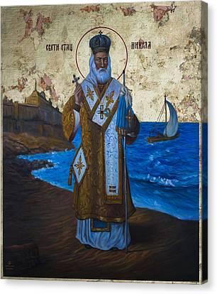 Saint Nicholas Canvas Print by Aleksandar Tesanovic