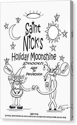 Saint Nick Canvas Print - Saint Nicks Holiday Moonshine by Anthony Falbo