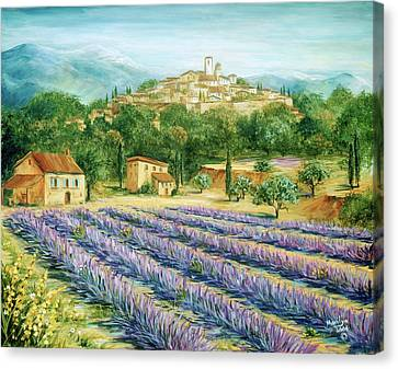 Saint Paul De Vence And Lavender Canvas Print by Marilyn Dunlap